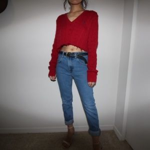 Ralph Lauren Cropped V-neck Sweater